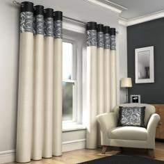Skye Black & Cream Lined Eyelet Curtains