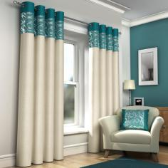 Skye Teal & Cream Lined Eyelet Curtains
