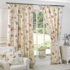 Charlotte Birdcage Floral Vintage Butterfly Natural Lined Curtains