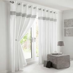 Diamante Eyelet Ring Top Fully Lined Curtains White / Silver