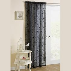 Nightingale Birdcage Black Voile Curtain Panel