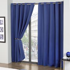 Cali Eyelet Ring Top Thermal Blackout Curtains Blue