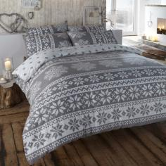 Alpine Snowflake Grey Thermal Flannelette Duvet Cover Set