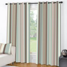 Wentworth Blue Cream Striped Eyelet Ring Top Fully Lined Curtains