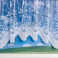 Butterfly Design White Jardiniere Net Curtain