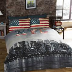 New York Skyline & American Flag Reversible Duvet Cover Set