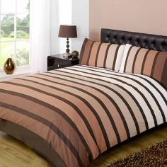 Soho Brown Striped Duvet Cover Set