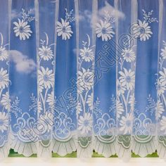 Daisy Patterned White Net Curtain