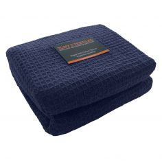 100% Cotton Honeycomb Woven Blanket Throw - Navy Blue