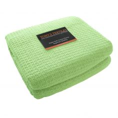 100% Cotton Honeycomb Woven Blanket Throw - Green