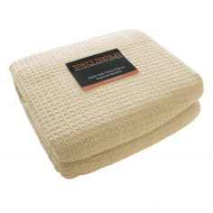100% Cotton Honeycomb Woven Blanket Throw - Cream