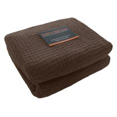 100% Cotton Honeycomb Woven Blanket Throw - Chocolate Brown