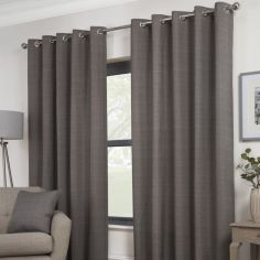 Plain Belvedere Eyelet Ring Top Fully Lined Curtains - Charcoal Grey