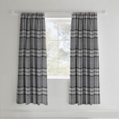 Catherine Lansfield Kelso Tartan Lined Tape Top Curtains - Charcoal Grey