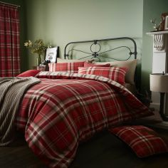 Catherine Lansfield Kelso Tartan Reversible Duvet Cover Set - Red
