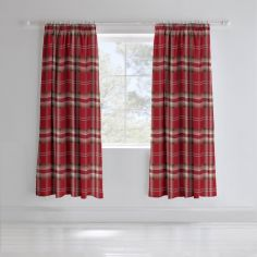 Catherine Lansfield Kelso Tartan Lined Tape Top Curtains - Red