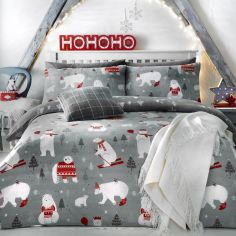 Polar Bear Christmas Duvet Cover Set - Silver Grey