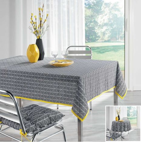 Modern Style Yellow 100% Cotton Tablecloth - Grey