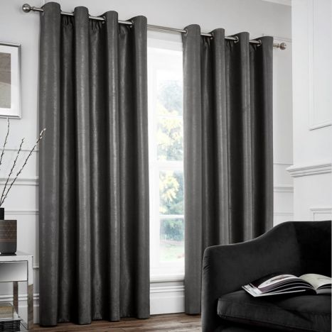 Catherine Lansfield Chelsea Fully Lined Eyelet Curtains - Charcoal Grey