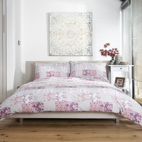 Patchwork Check Duvet Cover Set - Pink