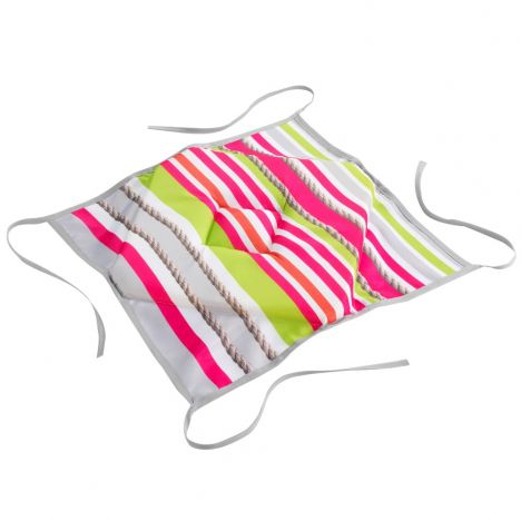Matelot Striped Seat Pad with 4 Flaps - Pink