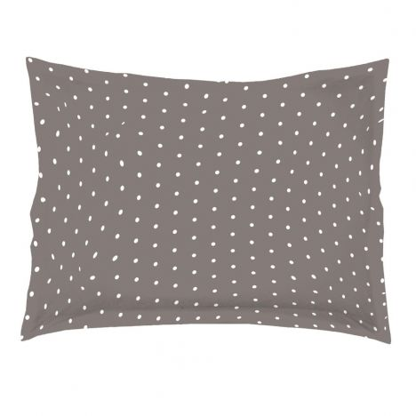 Pika Polka Dots 100% Cotton Oxford Pillowcase - Taupe White