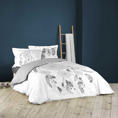 Aikta Dream Catcher Feathers Duvet Cover Set - White Grey: King