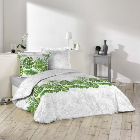 Amazone Tropical Floral Duvet Cover Set - Green Grey: King