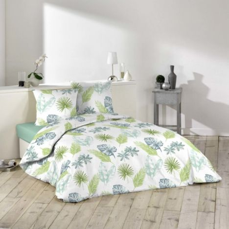 Andalouise Floral Leaves Duvet Cover Set - Blue Green: Single