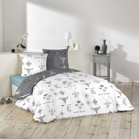 Appalaches Animal Feathers Duvet Cover Set - Grey Multi: Single