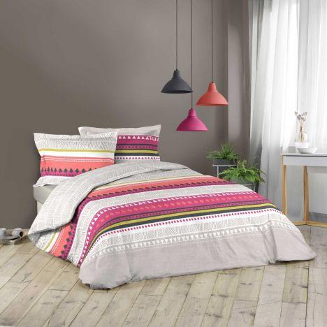 Arida Geometric Striped Duvet Cover Set - Pink Multi: King