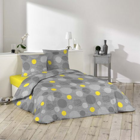 Atolls Circles Duvet Cover Set - Grey Yellow: Single