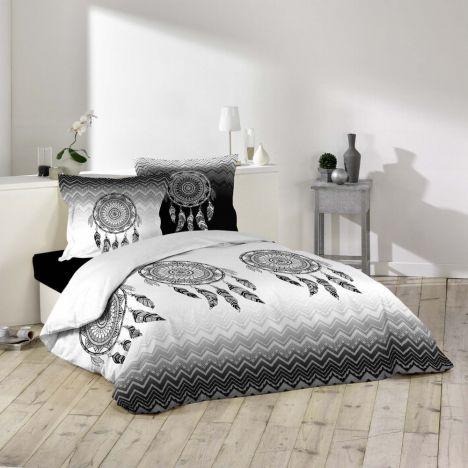 Attrape Reves Dream Catcher Duvet Cover Set - Black White Grey: Single