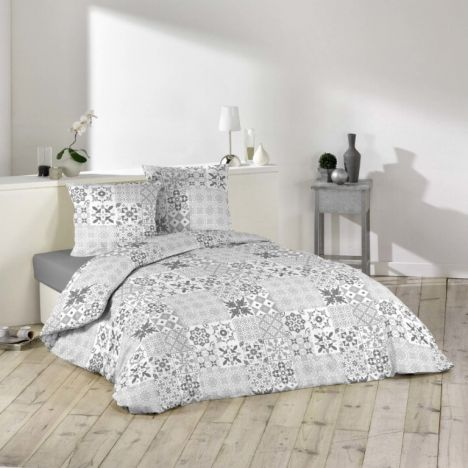 Axel Patchwork Duvet Cover Set - Grey: Single