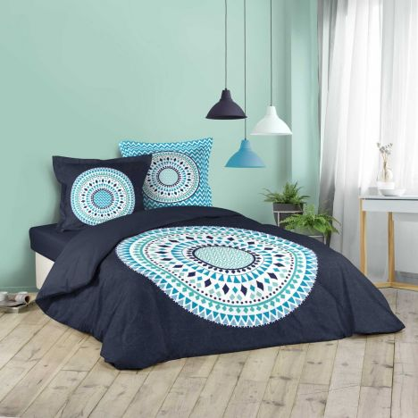 Baobab Geometric Circles Duvet Cover Set - Blue: King