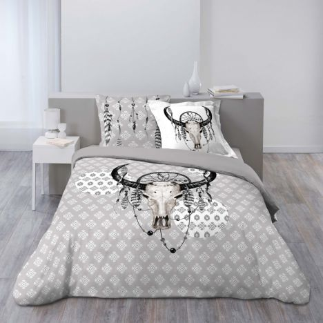 Bison Animal Feathers Duvet Cover Set - Grey Multi: King