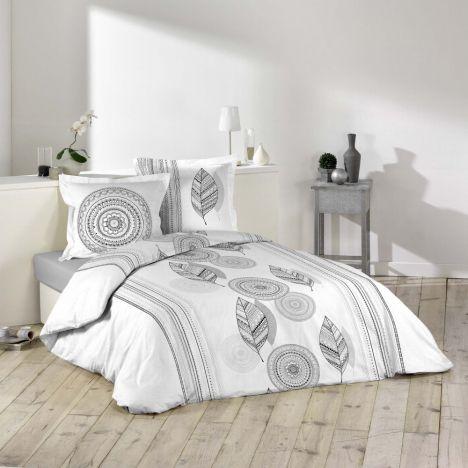 Bolivia Geometric Duvet Cover Set - White Grey: King