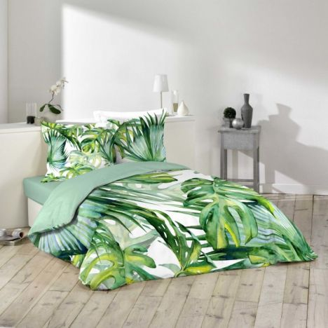Carvenao Tropical Floral Leaves Duvet Cover Set - Green: King