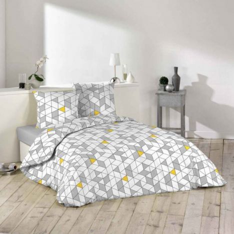 Casais Geometric Duvet Cover Set - Grey White Yellow: King