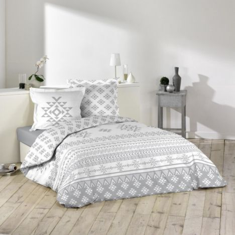 Cinetic Geometric Duvet Cover Set - Grey White: King