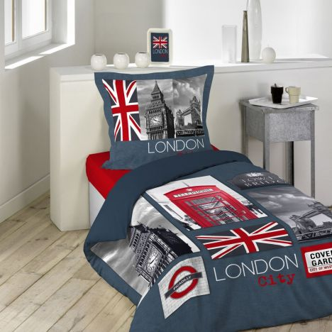 London City Union Jack Duvet Cover Set - Blue Red Multi: Single