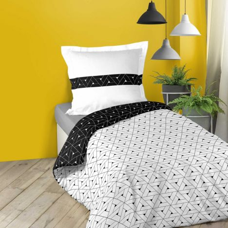Cosmo Geometric Duvet Cover Set - Black White: Single