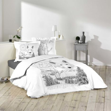 Coyote Dog Nature Duvet Cover Set - Grey White: King