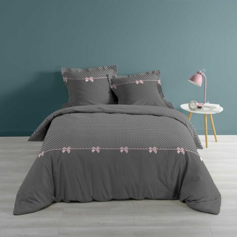 Craquante Spots & Bows Duvet Cover Set - Grey Pink: Super King