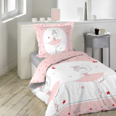 Danseuse Ballerina Stars Duvet Cover Set - Pink: Single