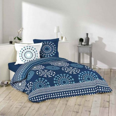 Darla Chevrons Duvet Cover Set - Blue White: Single