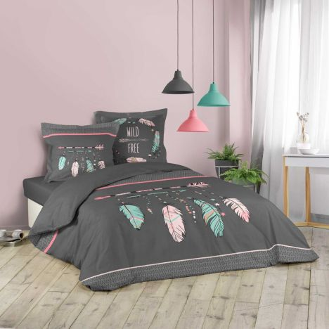 Ete Indien Arrows & Feathers Duvet Cover Set - Charcoal Grey Multi: King