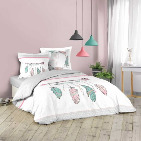 Ete Indien Arrows & Feathers Duvet Cover Set - White Multi: King