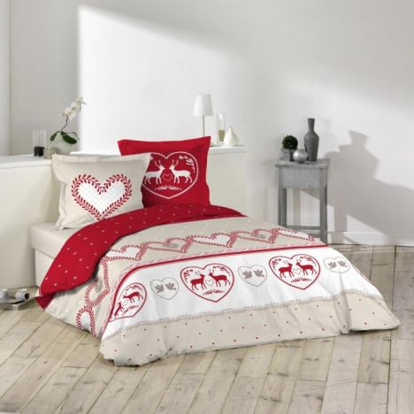 Eternel Christmas Stag & Love Hearts Duvet Cover Set - Red Multi: King