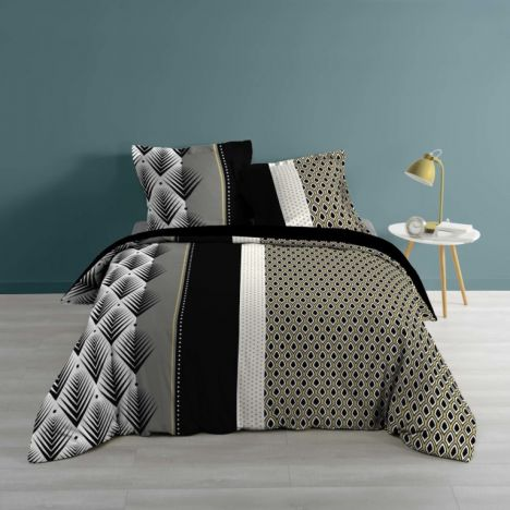Galileo Striped Geometric Duvet Cover Set - Multi: King